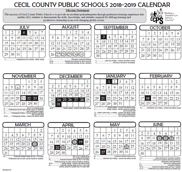 cms calendar 2019 18