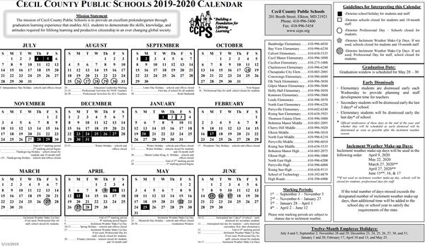 Baltimore City Schools Calendar.Calendars Ccps 2019 2020 Calendar