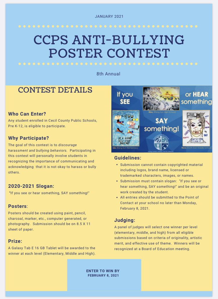 CCPS Anti-Bullying Poster Contest