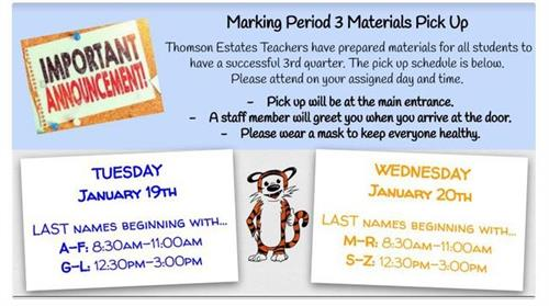 Materials Pick Up January 19th and 20th