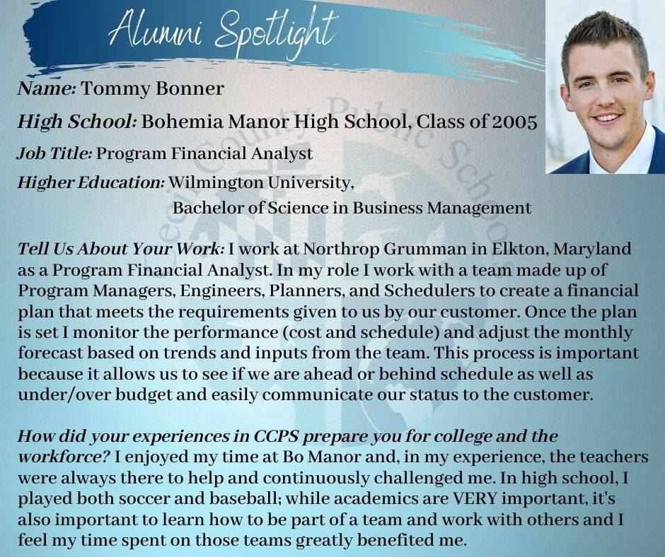 ICYMI: CCPS Alumni Spotlight on Bohemia Manor grad, Tommy Bonner! #cecilproud