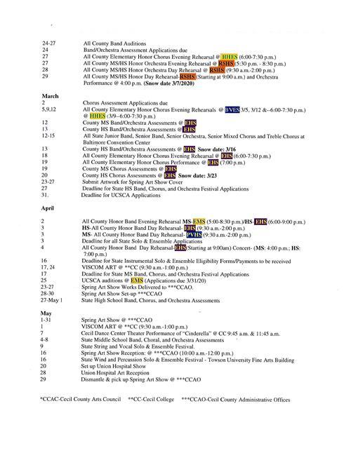 Calendario Community Manager 2020.Fine Arts Calendar