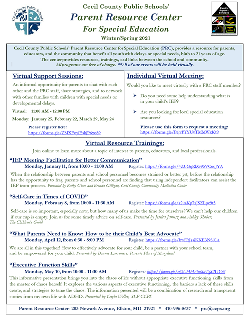 Winter/Spring PRC Events Flier