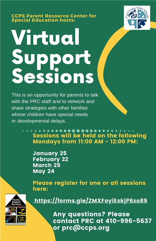 Virtual Support Sessions flier