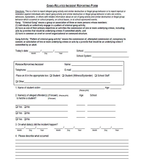 Student Services  Gang Related Incident Reporting Form