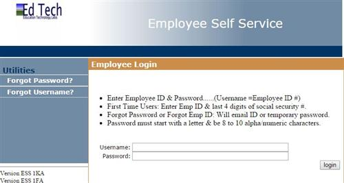 Employee Self Service Screen capture